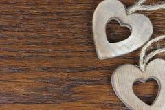 Drewniani serca w szczególe Obrazy Royalty Free