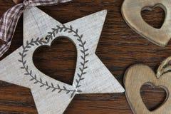 Drewniani serca w szczególe Zdjęcie Stock