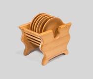 Drewniani spodeczki na stojaku Zdjęcia Stock