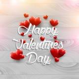 Drewniani tło valentines dnia rocznika czerwieni i literowania serca Zdjęcia Royalty Free
