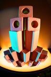 Drewniani toybricks w barwionym świetle zdjęcie royalty free