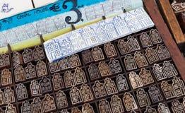 Drewniani znaczki z tradycyjnymi Holenderskimi domami Obraz Royalty Free