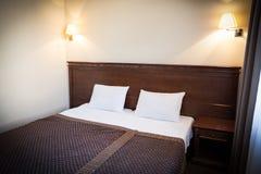 Drewniany łóżko dla dwa Fotografia Royalty Free