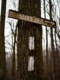 Drewniany śladu znak Osłaniać i Trail Blaze - Appalachian ślad obraz royalty free