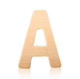 Drewniany abecadło list A Obrazy Stock