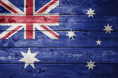 Drewniany australijczyk flaga tło Fotografia Stock