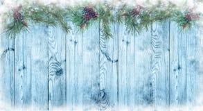 Drewniany błękitny tło i sosnowa gałąź z rożkami Boże Narodzenia zdjęcia royalty free