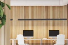 Drewniany biuro, dwa komputeru, zakończenie up ilustracji