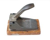Drewniany biuro papieru dziury puncher odizolowywający na białym tle Zdjęcia Royalty Free