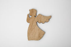 Drewniany boże narodzenie anioła ornament na bielu Fotografia Royalty Free
