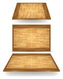 Drewniany boisko do koszykówki z perspektywą royalty ilustracja