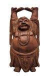 Drewniany Buddha odizolowywający na białym tle Zdjęcie Royalty Free