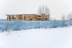 Drewniany budynek w budowie Obrazy Stock