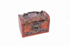 Drewniany careved skarbu pudełko Fotografia Royalty Free