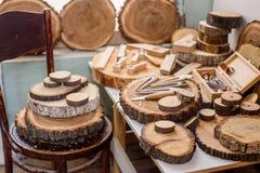 Drewniany carver ` s miejsce pracy fotografia royalty free