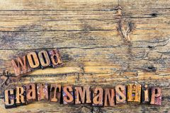 Drewniany craftsmanship znaka letterpress zdjęcia stock