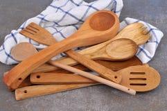 Drewniany cutlery zdjęcia royalty free