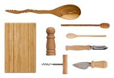 Drewniany cutlery odizolowywający na białym tle Set zdjęcie stock