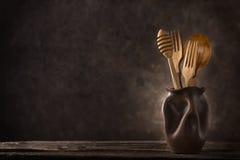 Drewniany cutlery życie Obrazy Stock