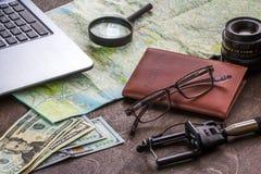 Drewniany Desktop aTraveler narządzanie dla wycieczki fotografia royalty free