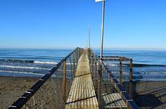 Drewniany dok, Rimini, Włochy zdjęcie royalty free