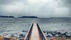 Drewniany dok w Helsinki, Finlandia Zdjęcia Stock