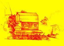 Drewniany dom ilustracja wektor