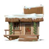 Drewniany dom dekorujący dla bożych narodzeń z znakiem royalty ilustracja