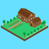 Drewniany dom i drewniana stajnia ilustracji