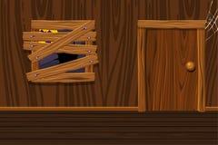 Drewniany dom, ilustracyjny wewnętrzny pokój z starym okno i drzwi, royalty ilustracja