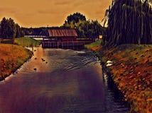 Drewniany dom na rzecznej cyfrowej ilustraci Wieś krajobraz z ciemnym wierzbowym lasem zdjęcie stock
