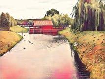 Drewniany dom na rzecznej romantycznej cyfrowej ilustraci Wieś krajobraz z wierzbowego drzewa lasem obraz stock