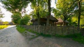 Drewniany dom z trzcinowym dachem blisko łozinowej cyny pod wysokimi drzewami zdjęcie stock