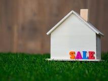 Drewniany domu model umieszczający na zielonym gazonie kolorowej tekst sprzedaży na domu i pojęcia projekta eco domu tekstura Fotografia Royalty Free