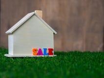 Drewniany domu model umieszczający na zielonym gazonie kolorowej tekst sprzedaży na domu i pojęcia projekta eco domu tekstura Fotografia Stock