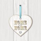 Drewniany domu znak na białym drewnie Zdjęcie Royalty Free