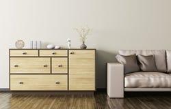Drewniany dresser i beż kanapy 3d rzemienny rendering Zdjęcie Royalty Free
