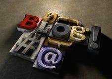 Drewniany drukowych bloków blogu formularzowy tytuł Pojęcie dla blogging, bl Fotografia Royalty Free