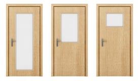 Drewniany drzwi odizolowywający na bielu Obrazy Royalty Free