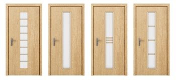 Drewniany drzwi odizolowywający na bielu Obrazy Stock