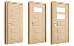Drewniany drzwi odizolowywający na bielu Zdjęcia Royalty Free