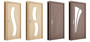 Drewniany drzwi odizolowywający na bielu Zdjęcie Stock