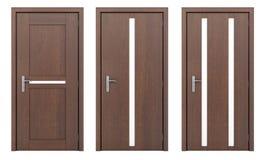 Drewniany drzwi odizolowywający na bielu Zdjęcia Stock