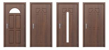 Drewniany drzwi odizolowywający na bielu Obraz Stock