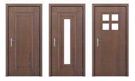 Drewniany drzwi odizolowywający na bielu Fotografia Royalty Free
