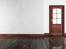Drewniany drzwi w pokoju royalty ilustracja