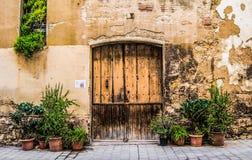 Drewniany drzwi z kamienną ścianą i zielonymi krzakami Obrazy Royalty Free