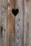 Drewniany drzwi z sercem Tło Obraz Royalty Free