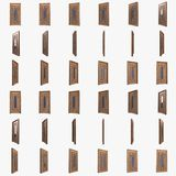 Drewniany drzwi z szklaną wszywką i stalowymi pręt 3d obrazy royalty free