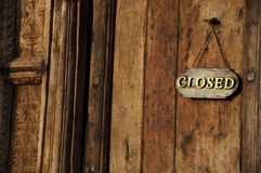 drewniany drzwi zamknięty znak Fotografia Stock